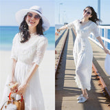 Round collar half sleeve cotton material Ankle length Dress