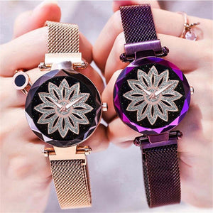 Women Magnet Buckle Starry Sky Lucky Flower Watch