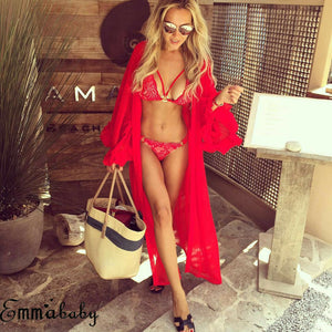 Swimsuit Mesh Lace Hollow Crochet Bikini Cover Up