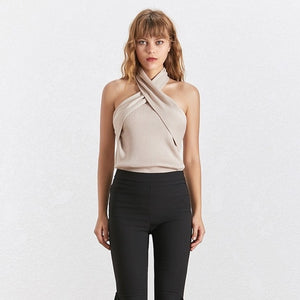 pT-shirt Tops Female Sleeveless Backless Sexy p