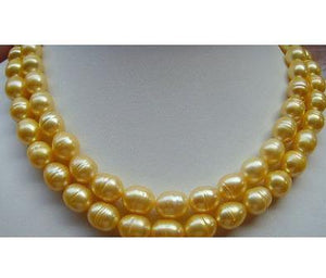 Beautiful AAA 10-13MM South Sea Golden Baroque Pearl Necklace