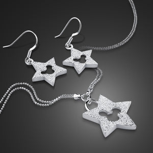 Cute Style Lady Silver Set 925 Sterling Silver Necklace/Earrings