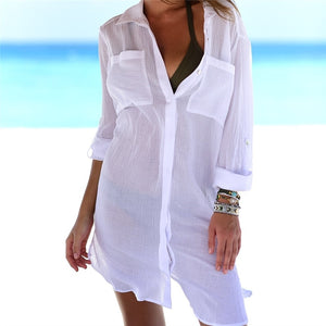 New Beach Cover up robe Plage Pocket