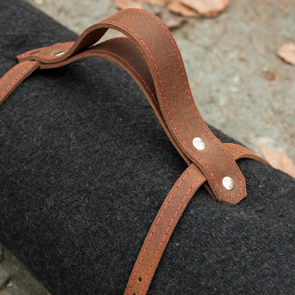 Wool Blanket & Leather Straps