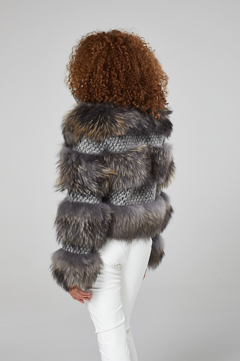 Solange Tweed Fur Coat