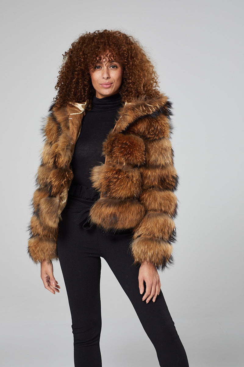 Coralie Hooded Fur Coat