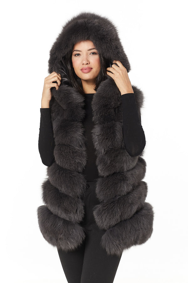 Antonia Hooded Fur Gilet