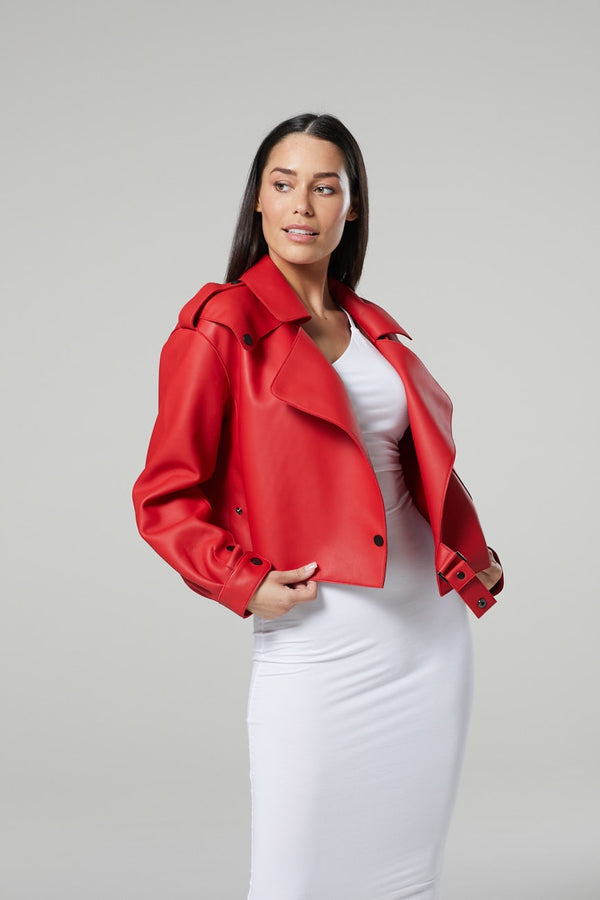 Lois Oversized Cropped Leather Jacket *Available in Various colours