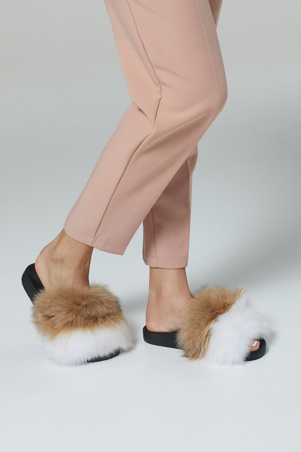 Two Tone Fox Fur Slides