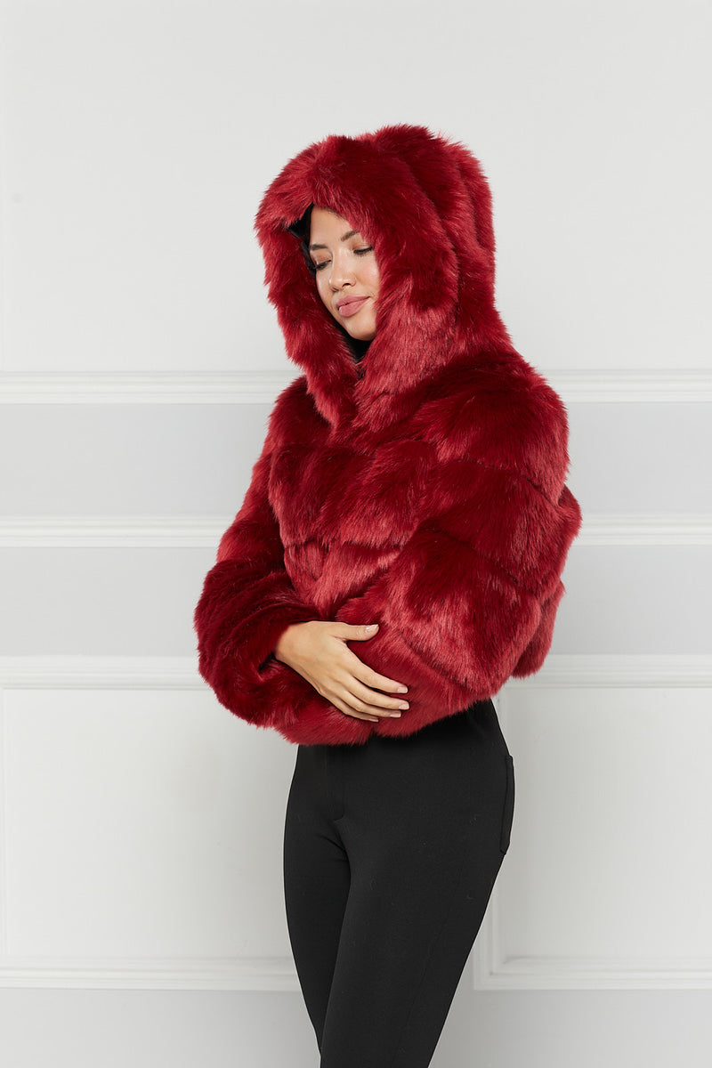 Sacha Hooded Faux Fur Coat