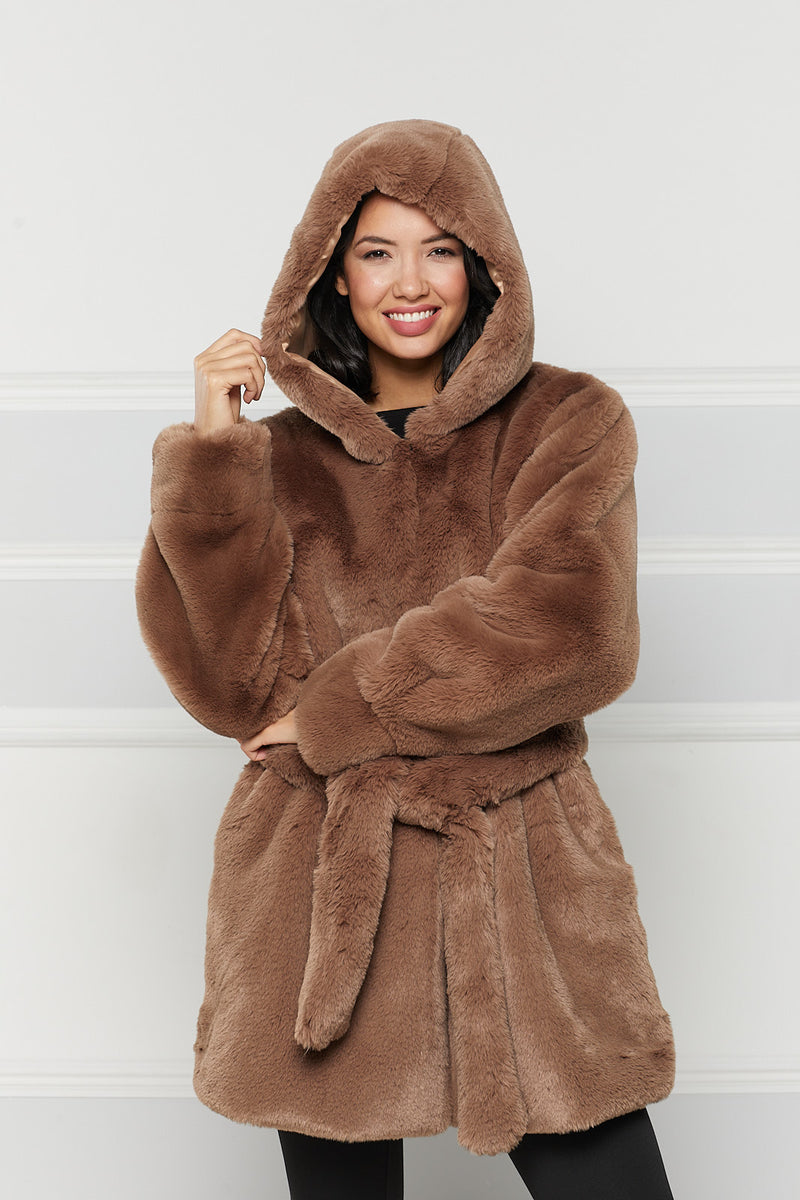 Isabelle Hooded Faux Fur Coat