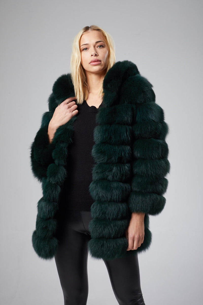 Marie Hooded Fur Coat