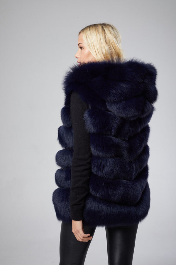 Antonia Hooded Fox Fur Vest