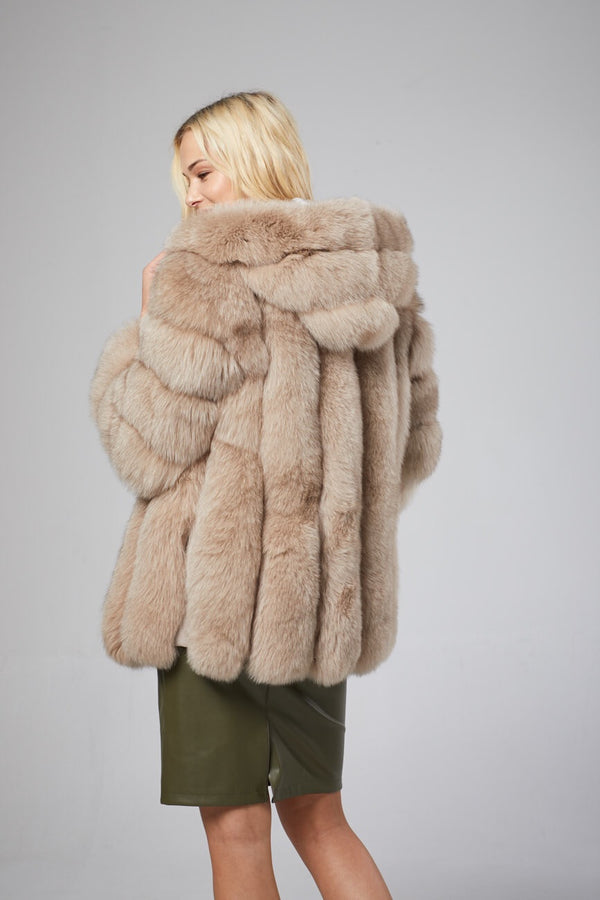 Gabrielle Hooded Fox Fur Coat