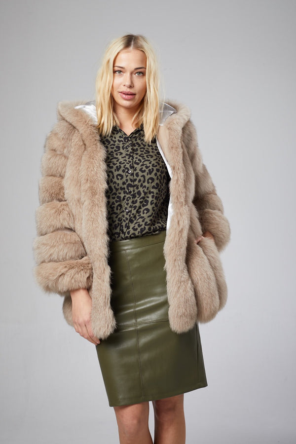 Gabrielle Hooded Fur Coat
