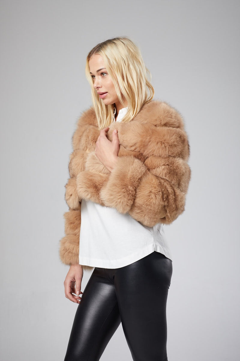 Cossette Cropped Fox Fur Coat