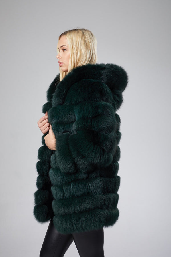 Marie Hooded Fox Fur Coat