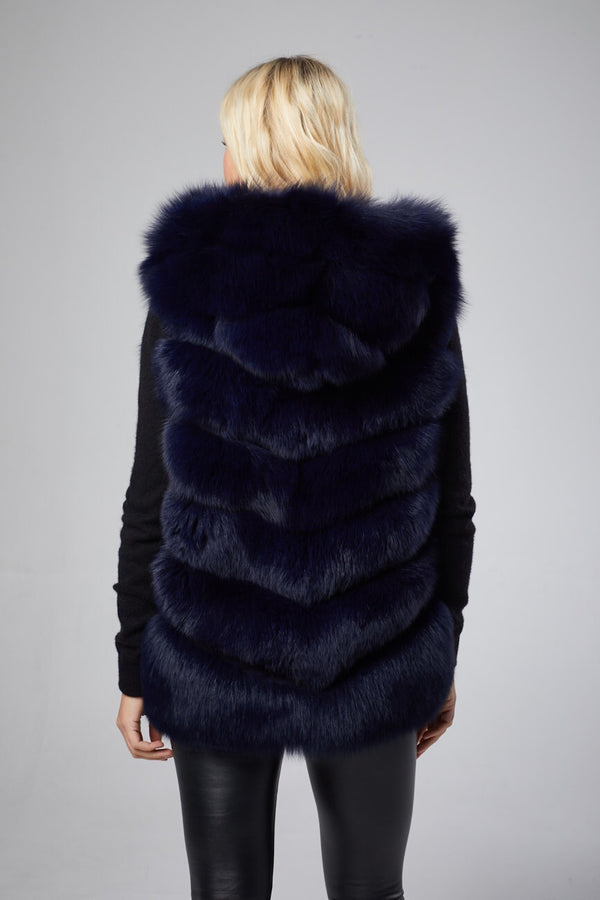 Antonia Hooded Fur Vest