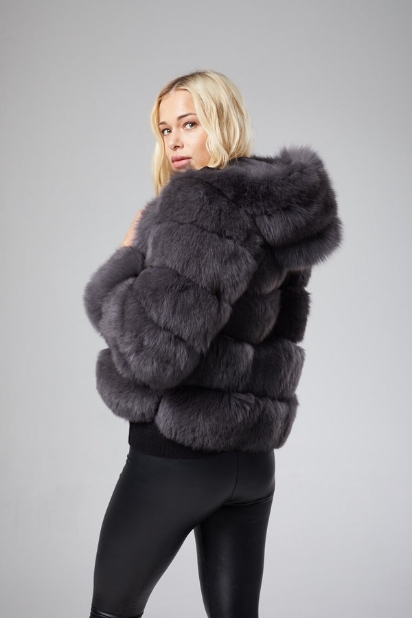 Amelie Hooded Fur Coat