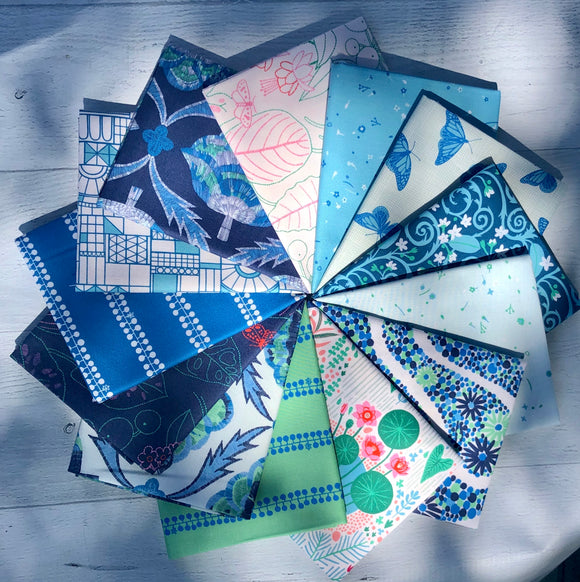 Glasshouse-Blue Fat Quarter Bundle by Emily Taylor