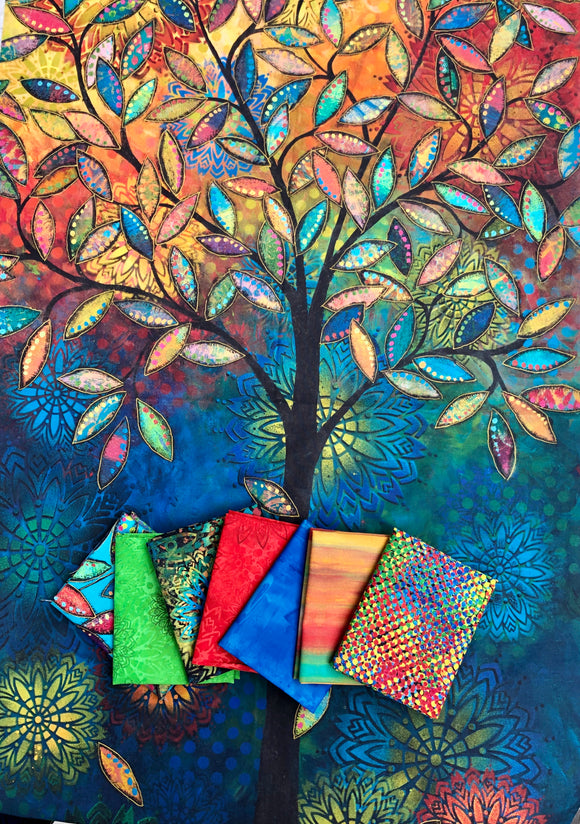 Light in the Forest PANEL with Half Yard Bundle by Sue Penn