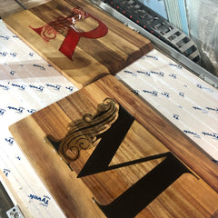 Two Monogramed Resign Cutting Boards