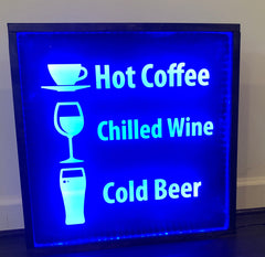 Lighted Coffee & Beer sign at Crew, The Bar by CCHobby