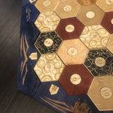 5-6 Player Blue Stained Catan Compatible Board Set with Laser Etched Terrain, Border and Number Pieces - CCHobby