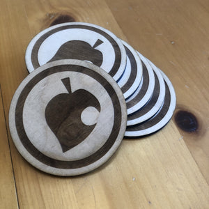 Animal Crossing Leaf Baltic Birch Wood Laser Cut Coasters Set of Six - CCHobby