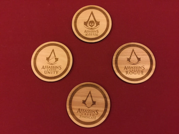 Assassins Creed Wood Drink Coasters Set of 4 - CCHobby