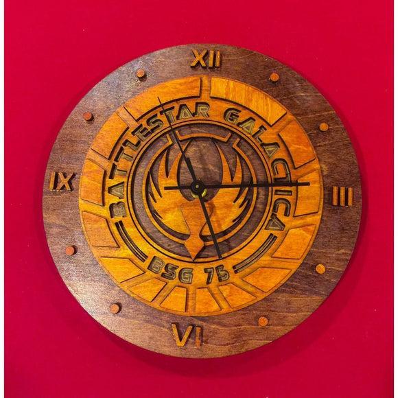 Battlestar Galactica Laser Cut Stained Wood Clock - CCHobby