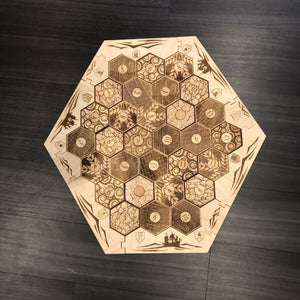 Custom Engraved 5-6 Player Settlers of Catan Board Set with Laser Etched Terrain, Border and Number Pieces - CCHobby