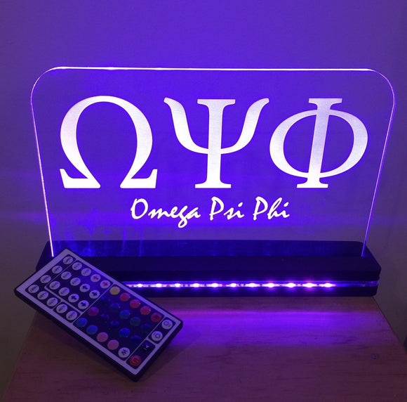 Custom Fraternity or Sorority LED Edge Lit Acrylic Laser Engraved and Cut Sign 6