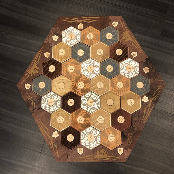 Custom Stained Custom Engraved 5-6 Player Settlers of Catan Board Set with Box - CCHobby