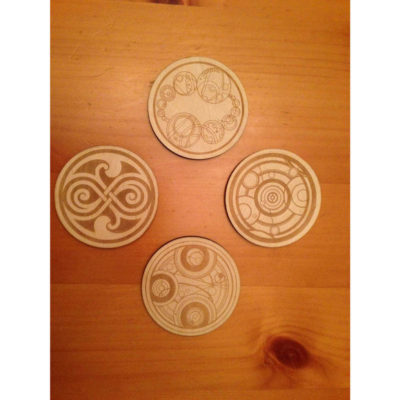 Doctor Who Gallifreyan Symbols Wood Drink Coasters Set of 4 - CCHobby
