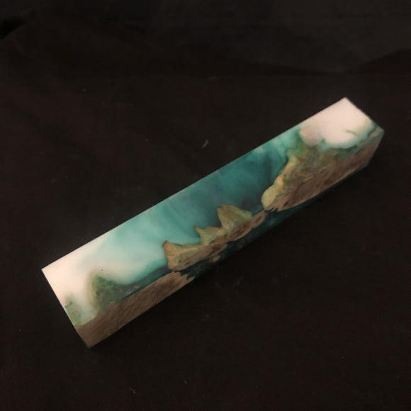 Green and White Burl Wood & Resin Pen Blank - CCHobby