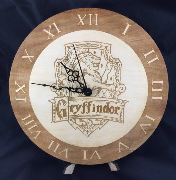 Gryffindor Hogwarts House from Harry Potter Laser Cut Wood Clock - CCHobby