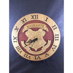 Hogwarts School Crest from Harry Potter Laser Cut Stained Wood Clock - CCHobby