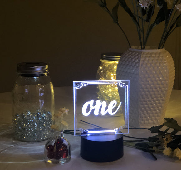 Lighted Table Number Sign Acrylic - CCHobby