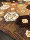 Stained Settlers of Catan Board Set with Laser Etched Terrain, Border and Number Pieces - CCHobby