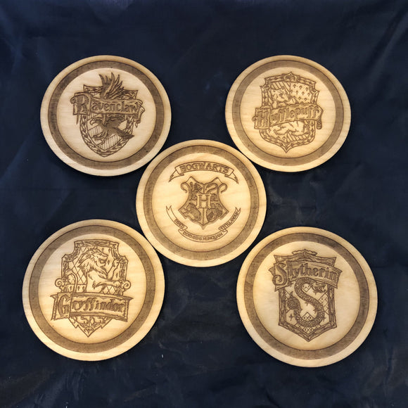 Wooden Harry Potter Hogwarts Coasters, Gryffindor, Hufflepuff, Ravenclaw and Slytherin - CCHobby