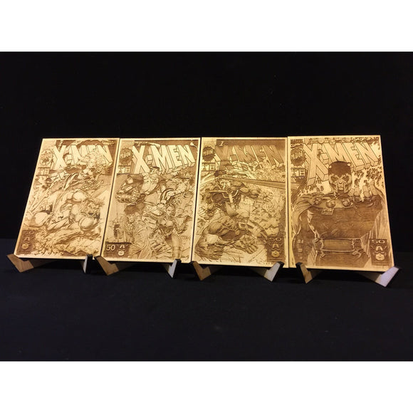 X-Men #1 All Four Jim Lee Covers Laser Etched Wood Covers on Baltic Birch Five Year Anniversary Wood - CCHobby