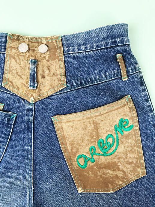 Jean Mom Patch Carbone Vintage