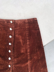 Mini Jupe Vintage Velours Marron