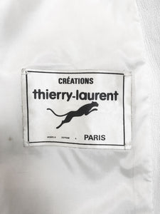 Manteau Peignoir Vintage 1980 Thierry Laurent Cuir Blanc