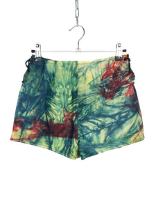 Mini Short Cuir Vintage Tie and Dye Multicolore