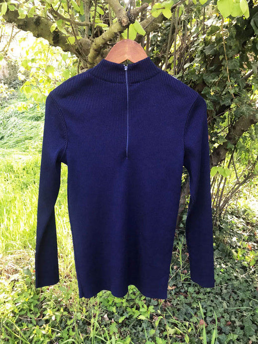 Pull 70's Col Montant Vintage Marine