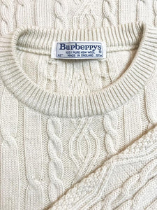 "Pull ""Burberry"" Vintage Maille Torsadee Broderie Burberry"