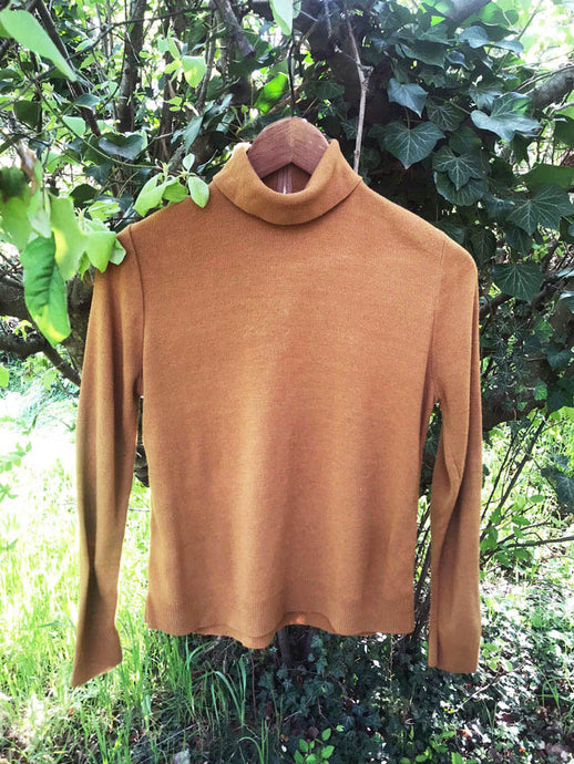 Pull Col Roule Zippe Camel Vintage