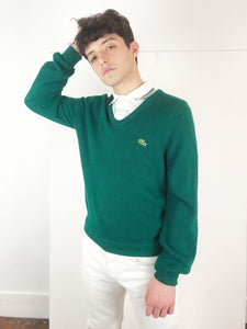"Pull Over ""Lacoste"" Vintage Vert Sapin Col V"